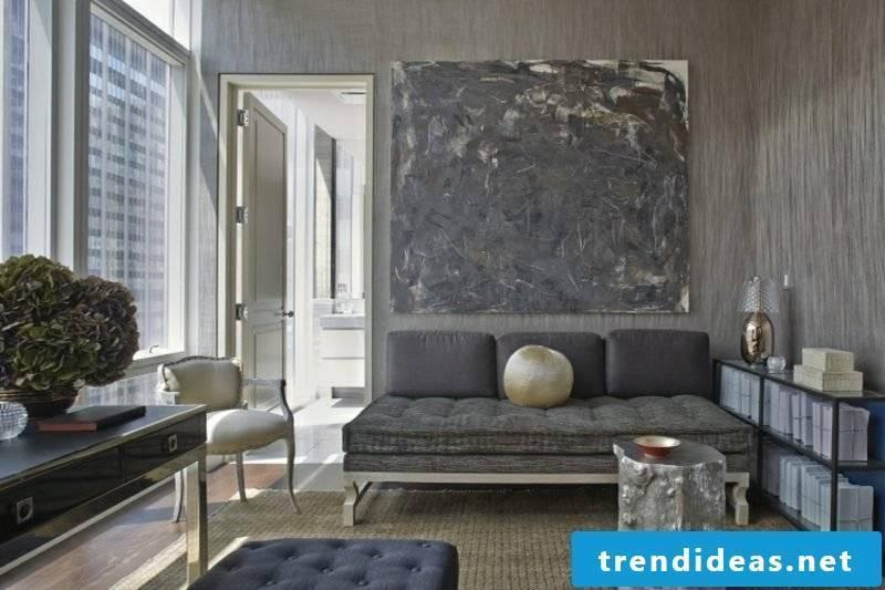 Wall color gray living room elegant look