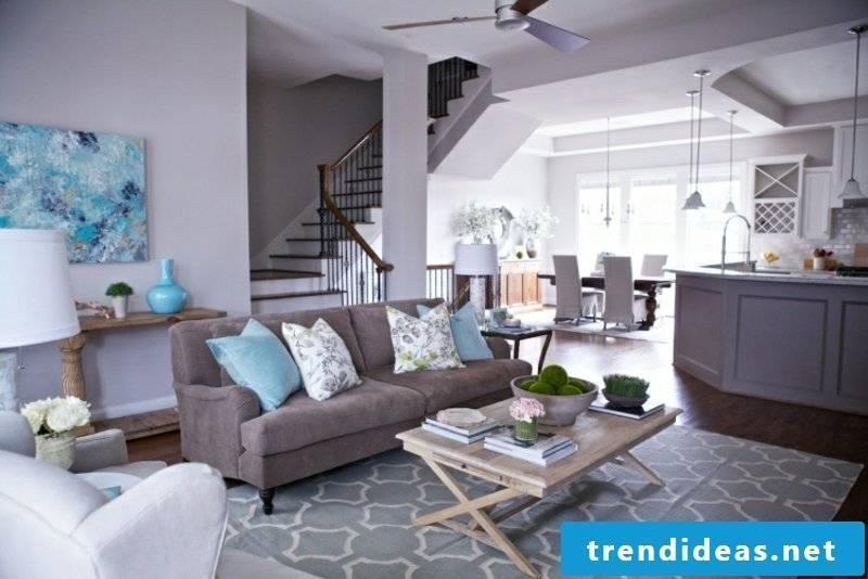 Wall color Gray Living room stylish ambience