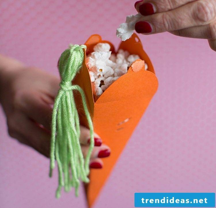 Fill your carrots with puffed corn and surprise the children looking for Easter eggs