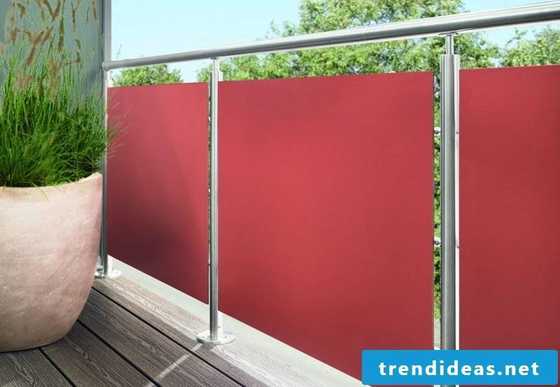 Balcony cover in fabric red