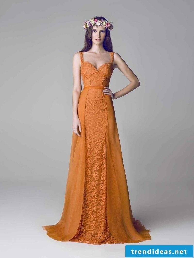 long wedding dress apricot color darker nuance
