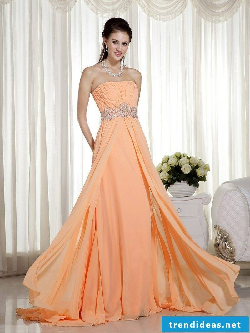 elegant wedding dress in Apricot color purist long