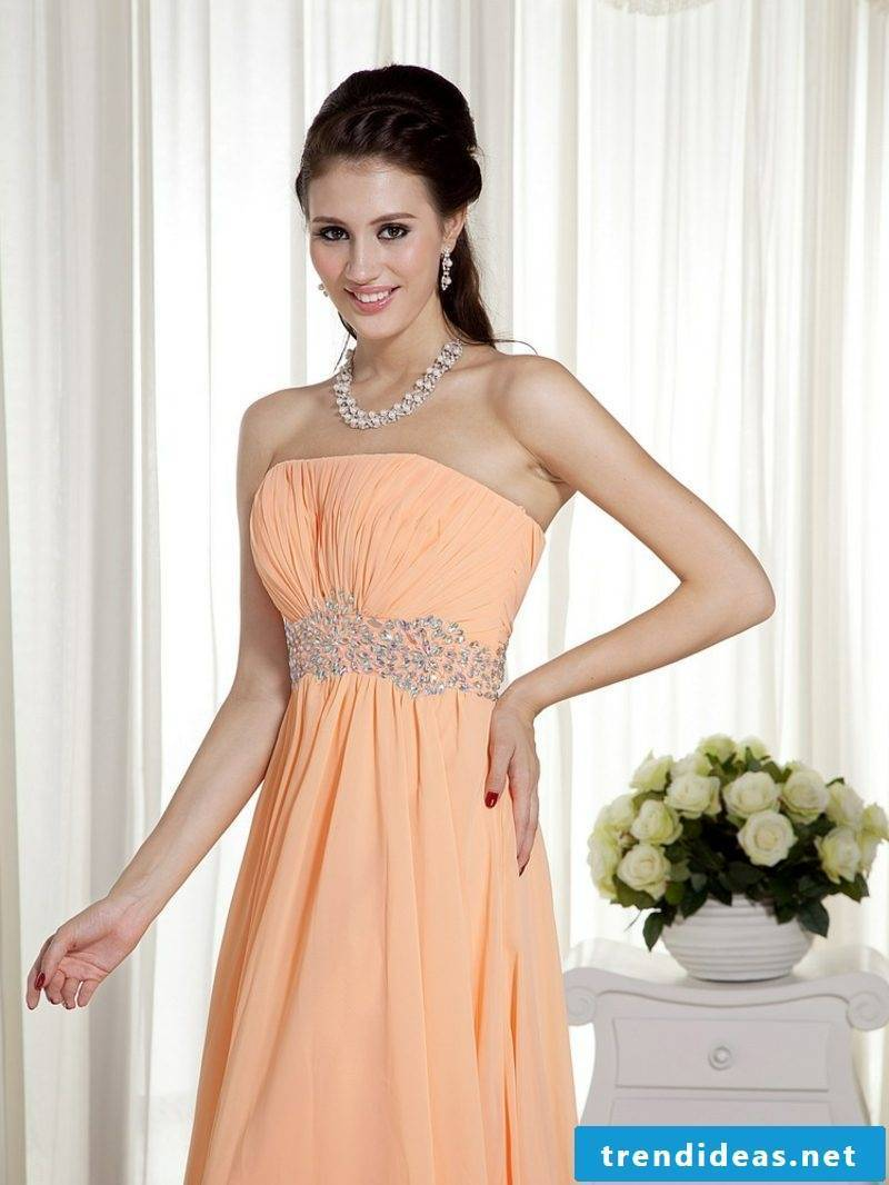 modern wedding dress in apricot color