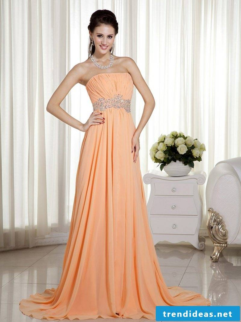 long wedding dress in apricot color