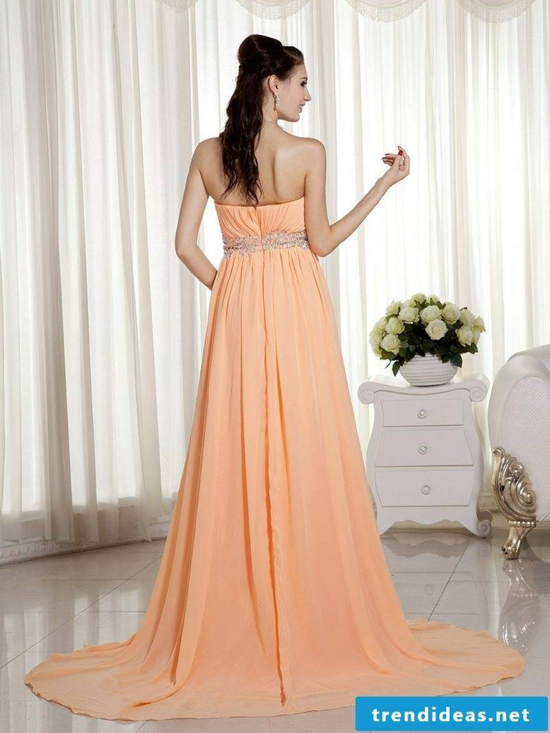 Bridal dress untraditionally apricot color from behind