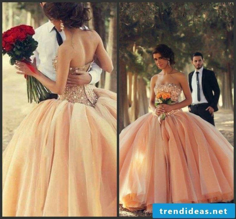Bridal gown apricot color glorious vintage style