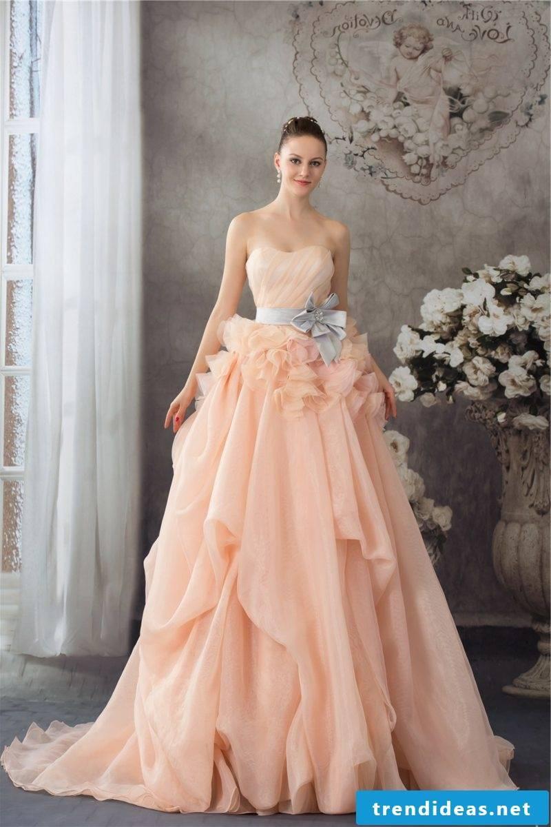 Gorgeous bridal gown apricot color pastel nuance