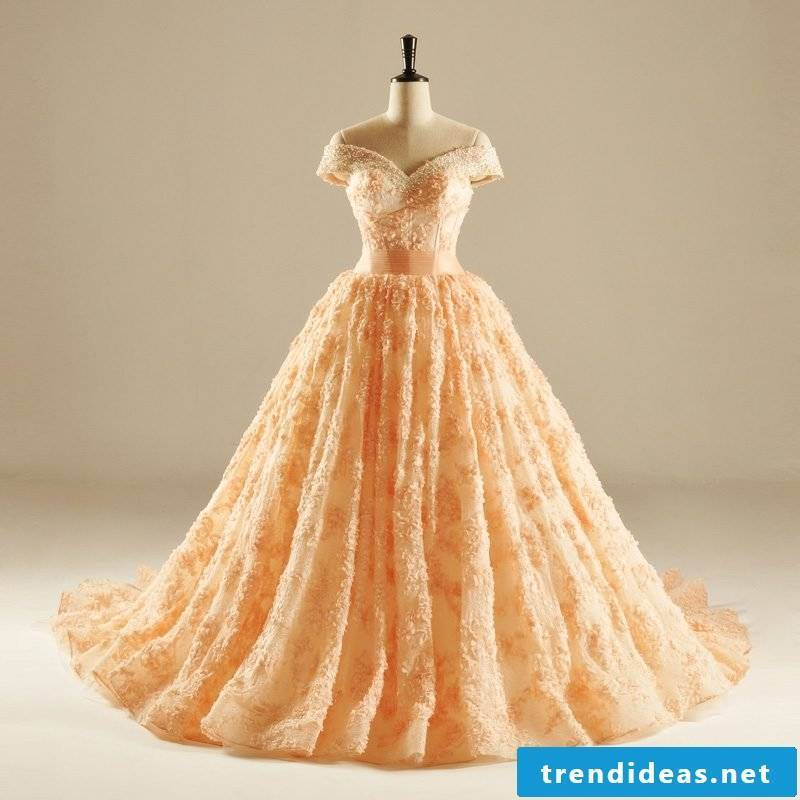 elegant wedding dress apricot color