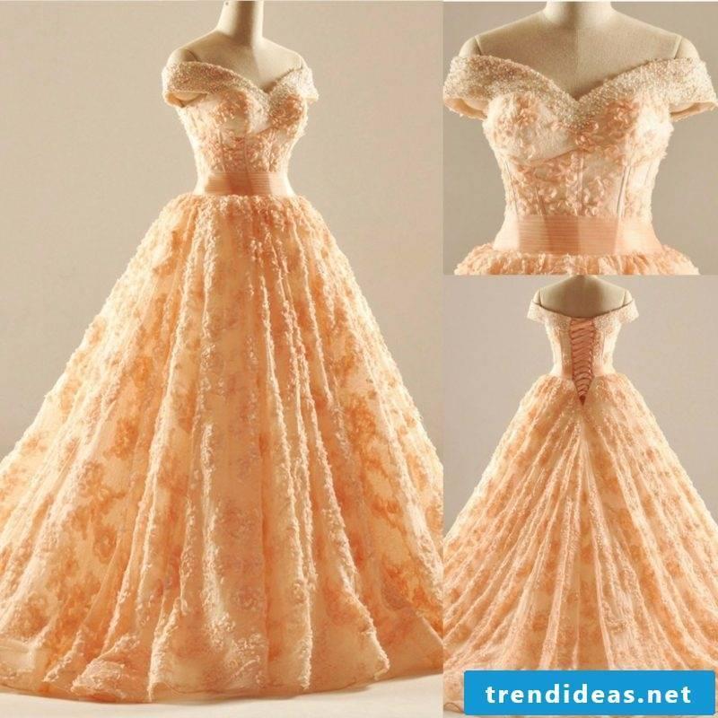 Bridal gown apricot color vintage style