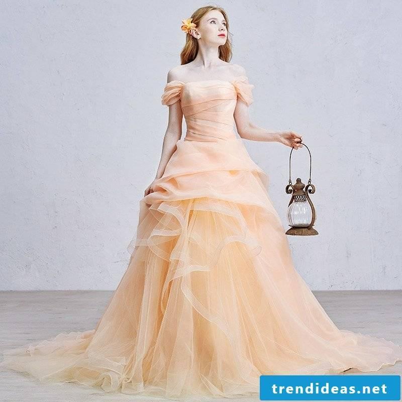 Wedding dress vintage style elegant romantic apricot color
