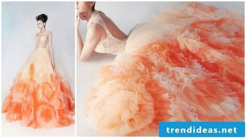 Bridal gown apricot color