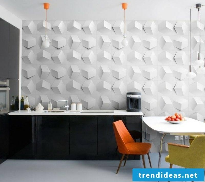 Wall design kitchen modern wall panels 3D optics