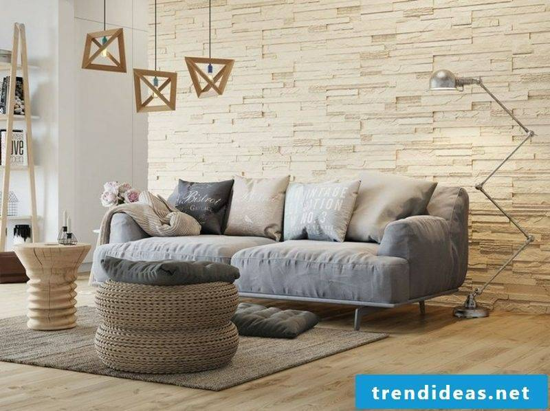 Living room wall stone paneling