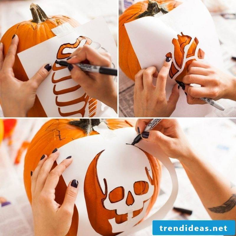 Shneiden the pumpkin with craft templates