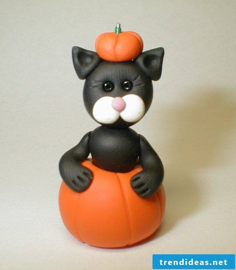 Fimo ideas for Halloween: Make a cat