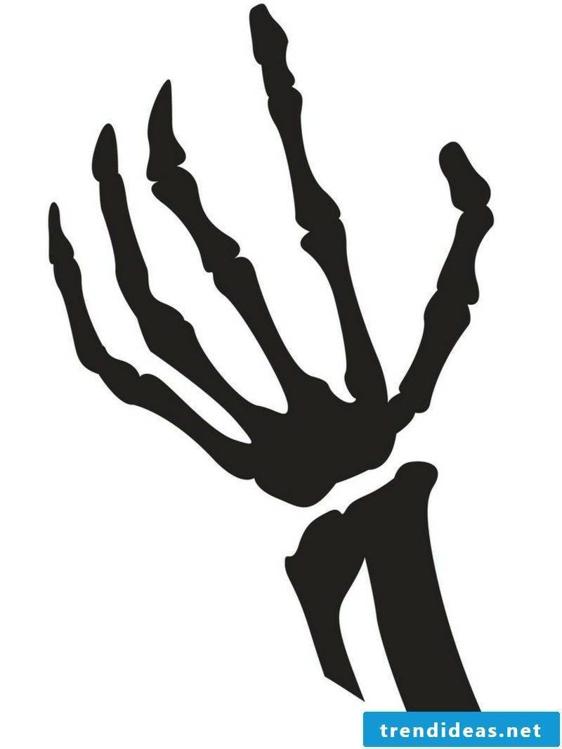 Halloween pumpkin carving templates hand bone
