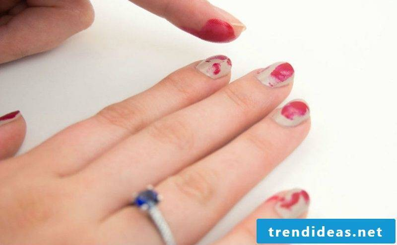 Red Nail Art Design for Halloween like Bloody Fingerprints DIY Instructions Step 3