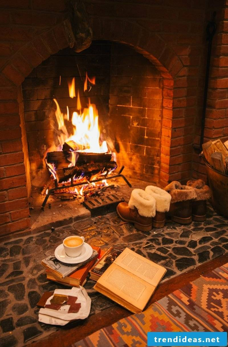 Staying hyggelig - enjoy hot chocolate in front of the fireplace
