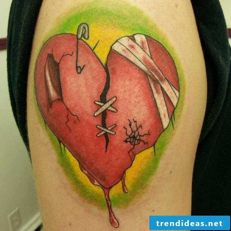 Heart Tattoo Damaged Heart