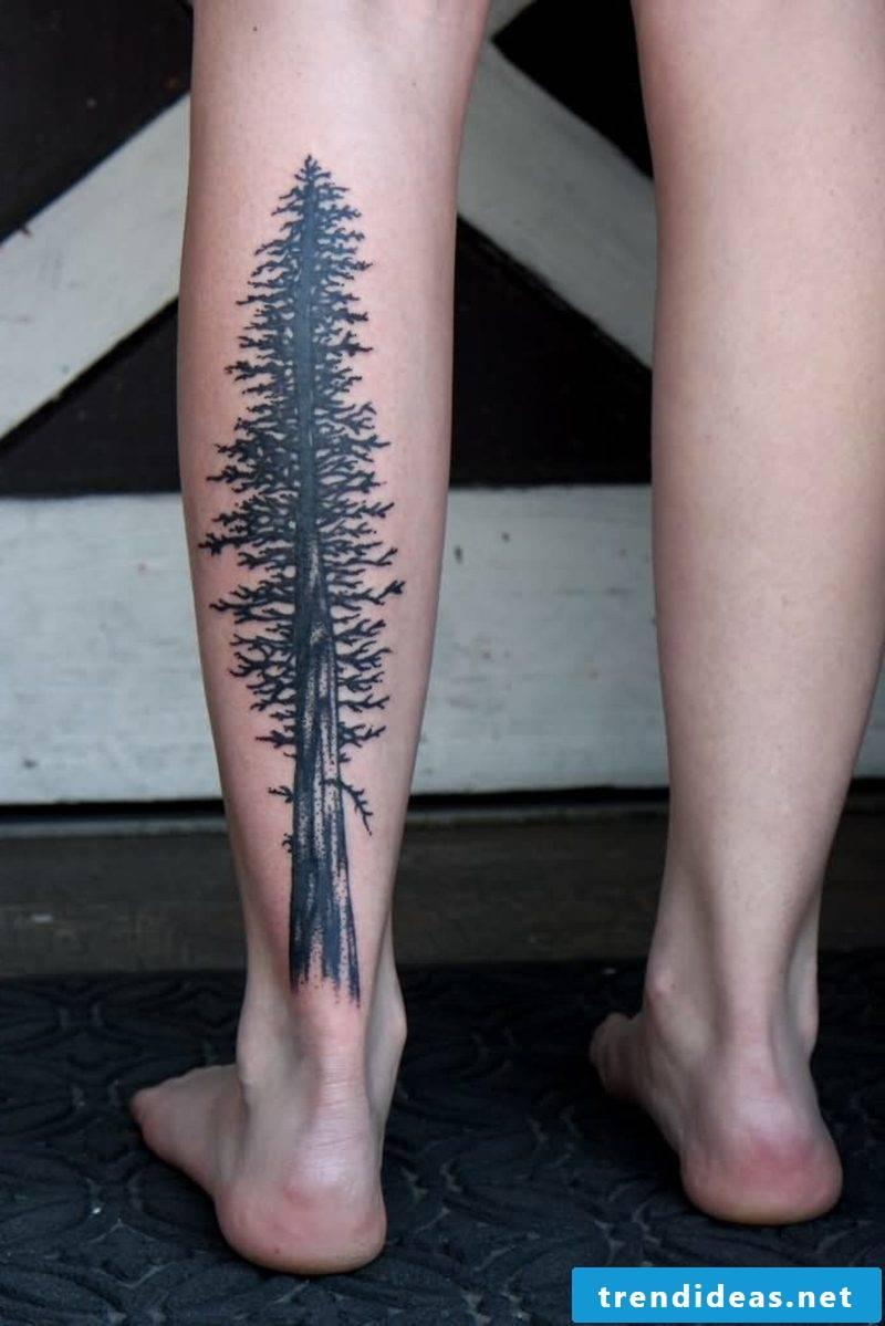 calf tattoo black redwood tree
