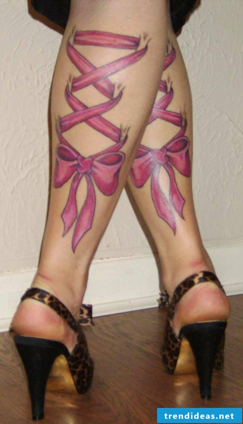 calf tattoo healed corset