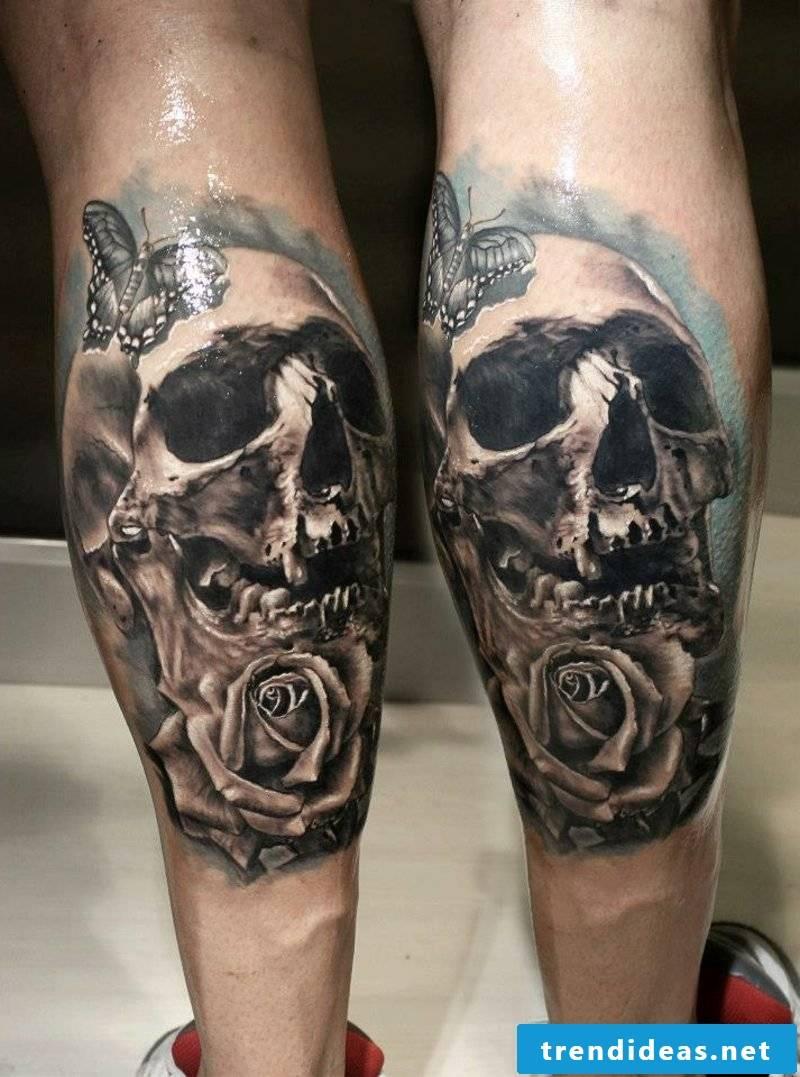 calf tattoo skull and rose