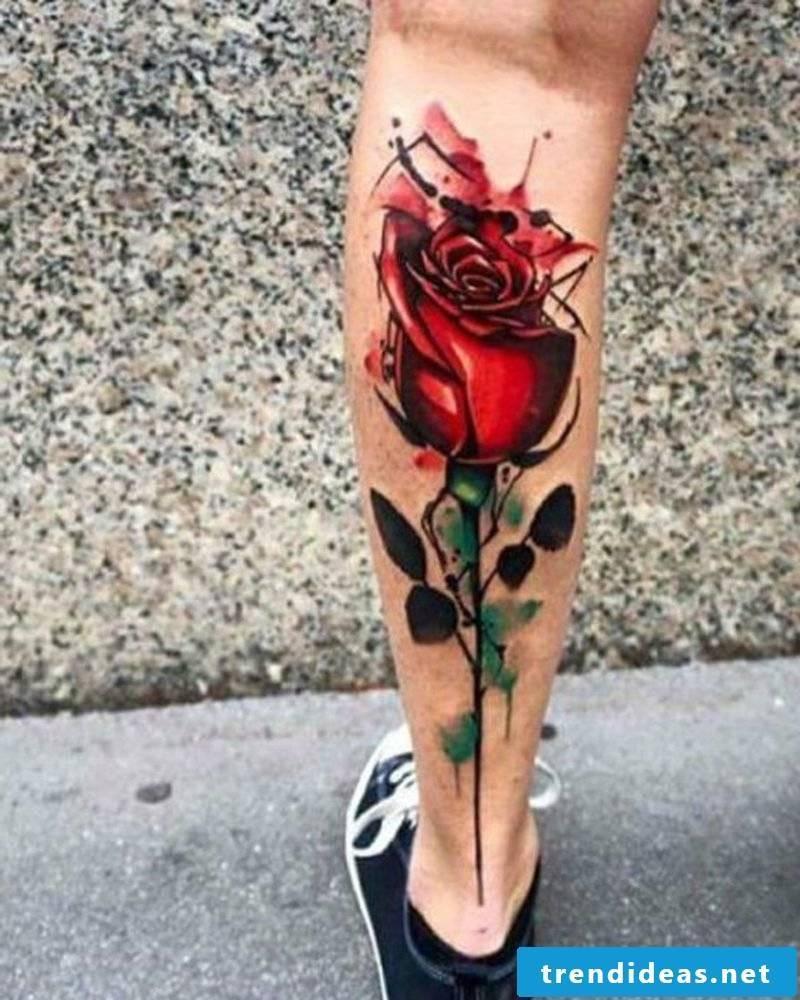 calf tattoo rose