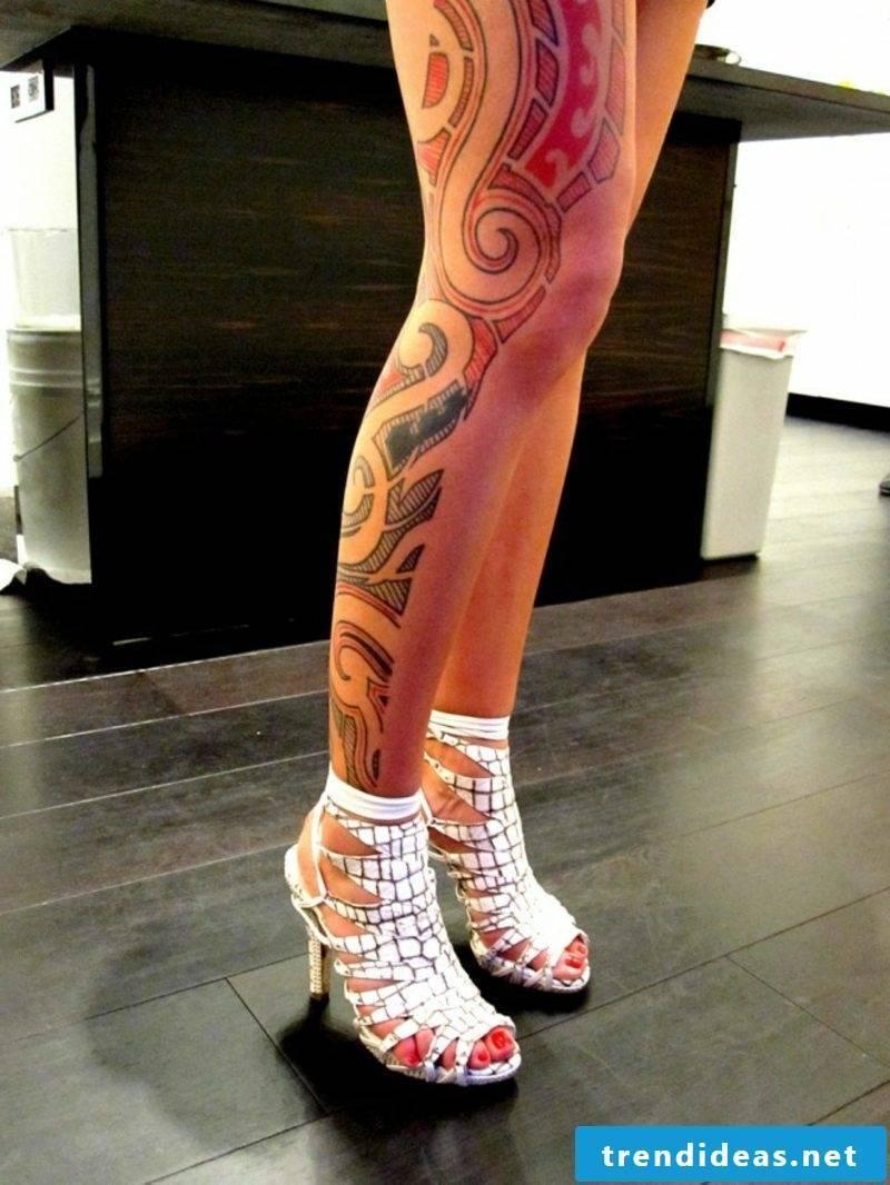 calf tattoo colored tribal leg tattoo for girls