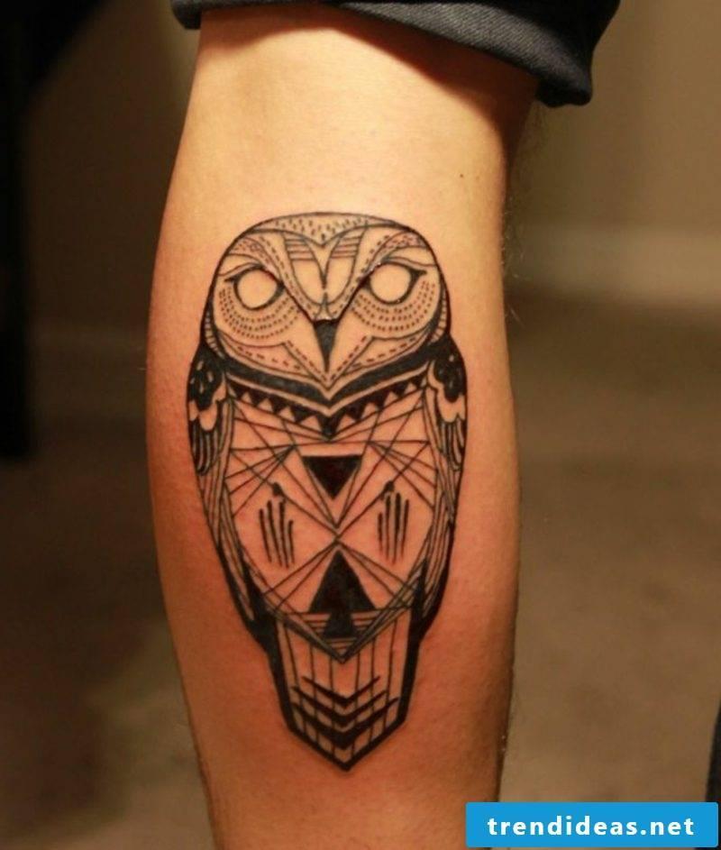 calf tattoo owl