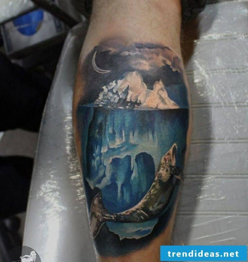 calf tattoo iceberg