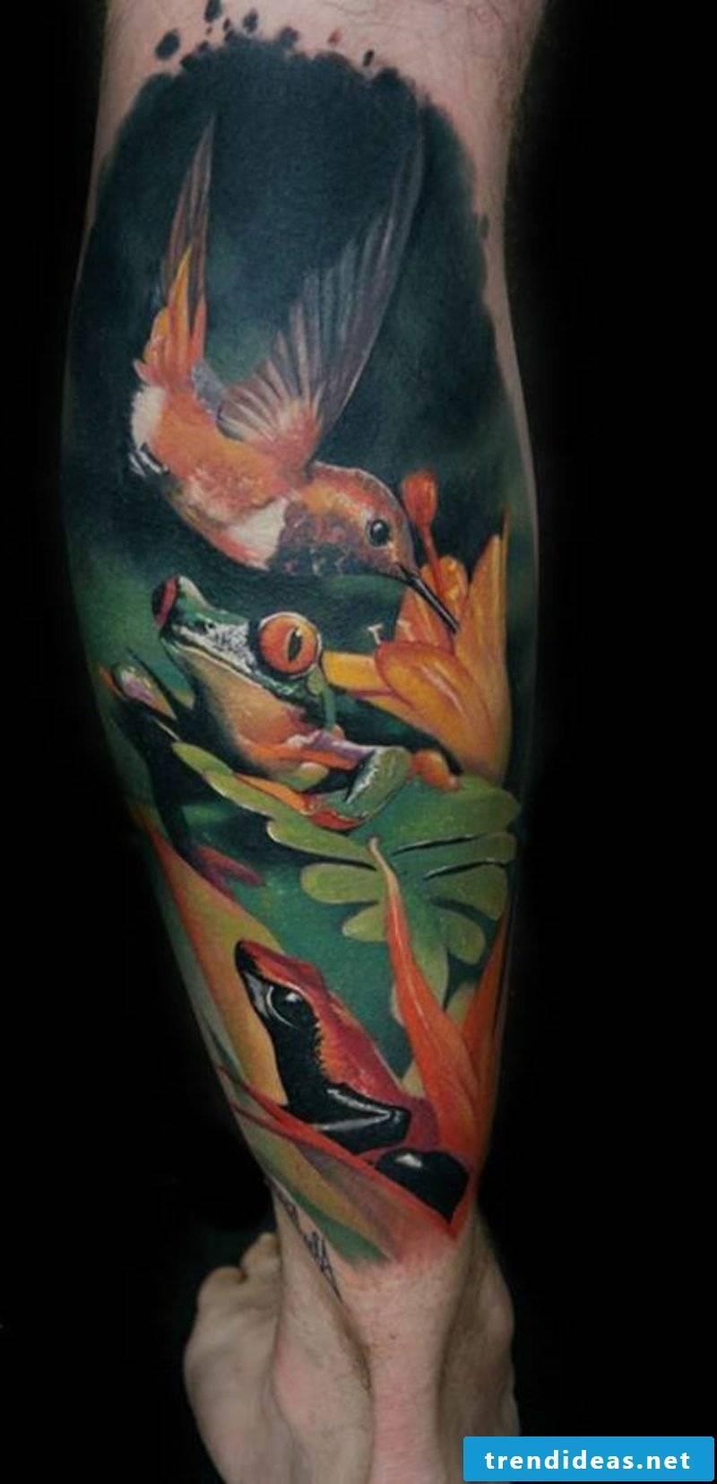 calf tattoo hummingbird leg