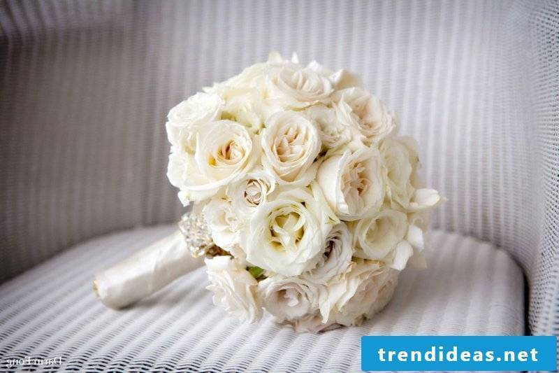 Wedding bouquet of classic white roses