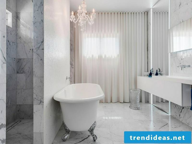 Modern designer marble tiles in the bathroom