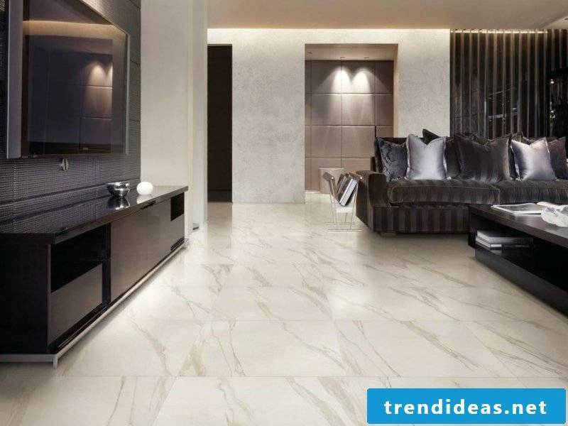 Elegant marble tiles in the living room