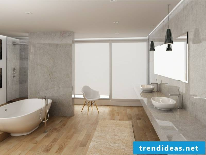wood flooring and classic marble tiles