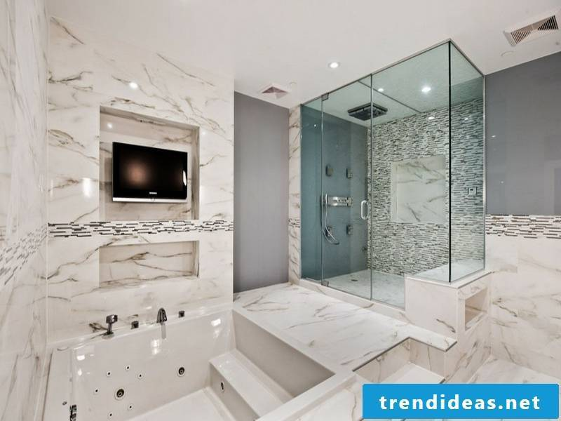 bathroom ideas for bright marble tiles