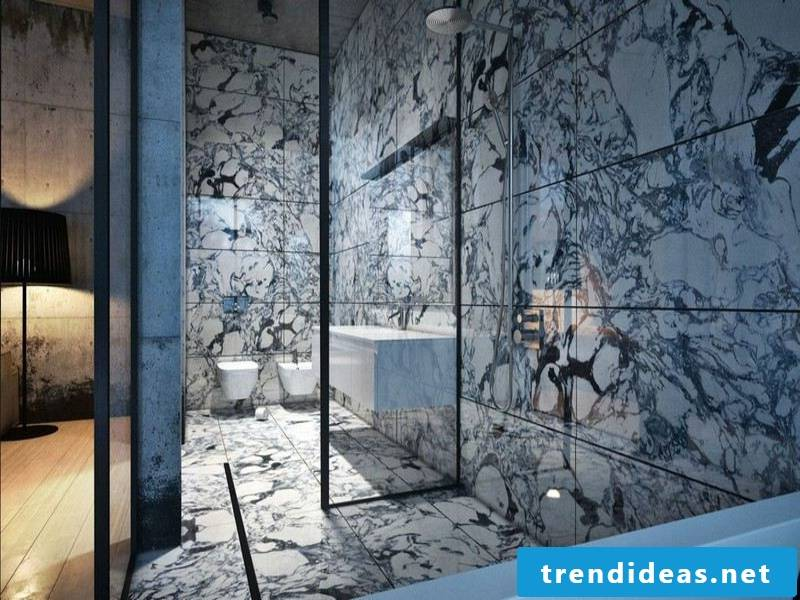 modern charming bathroom design with marble tiles