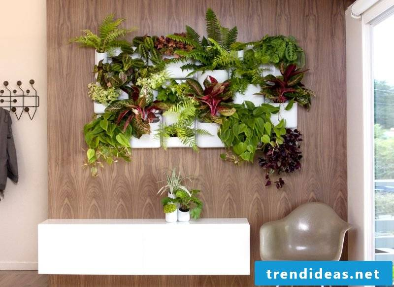 Vertical garden with wood combine