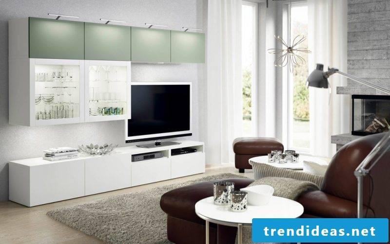 Ikea Besta shelf as TV wall