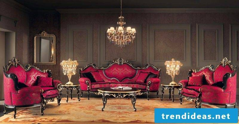 Baroque furniture living room red
