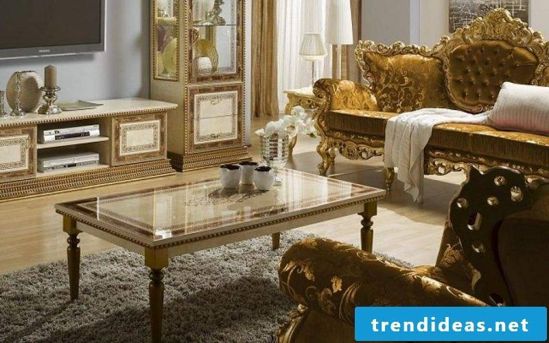 Baroque furniture living room gold