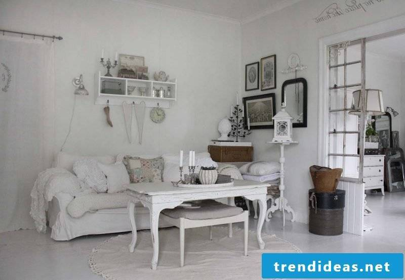White Furniture Country Style Sofa Table Wood Living Room Decorating Elegance