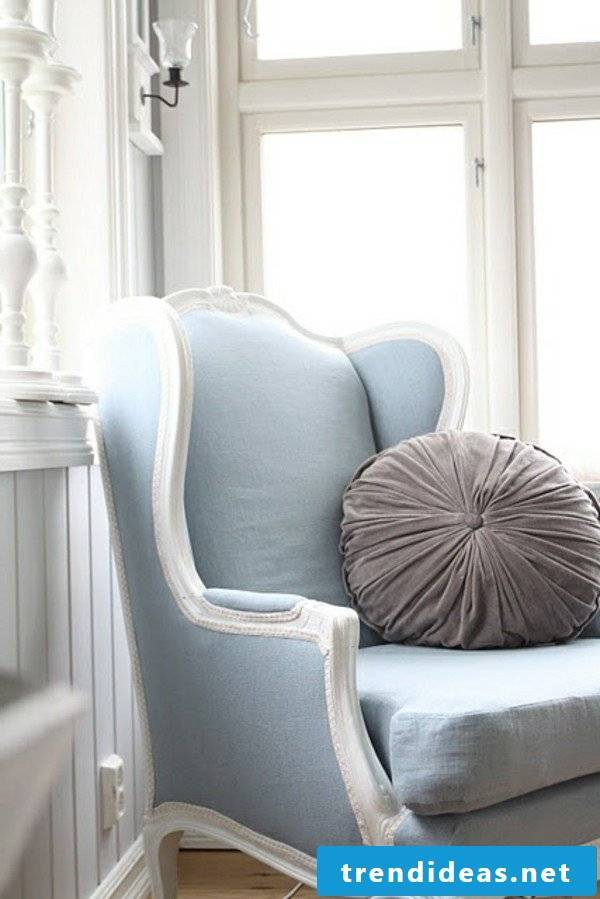 furniture country style white blue combination armchair chair cushion