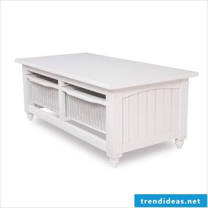 Coffee table wood furniture country style white classic country house