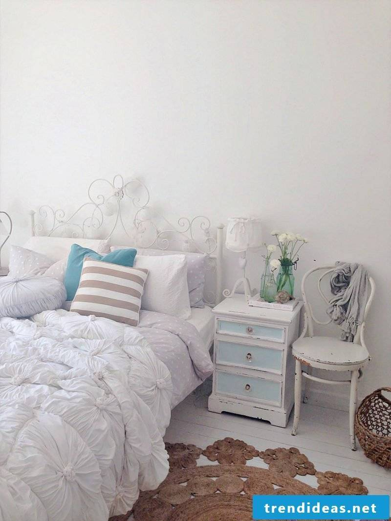 Furniture country style white chair bedside table wood pillow bedroom set up