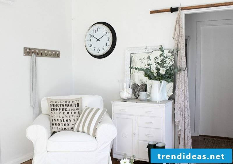 Furniture country style white armchair white mirror cabinet cushion decorating ideas