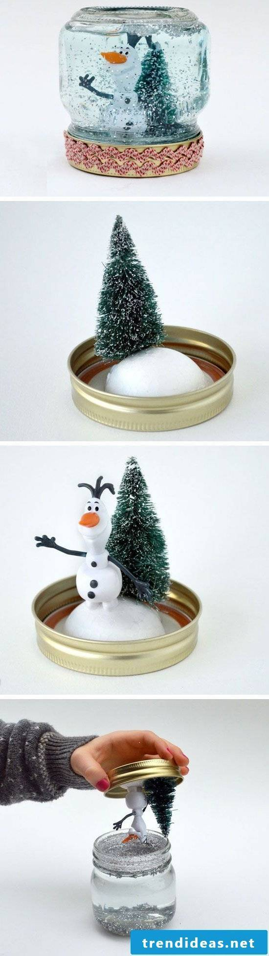 Snow globes as craft ideas for Christmas