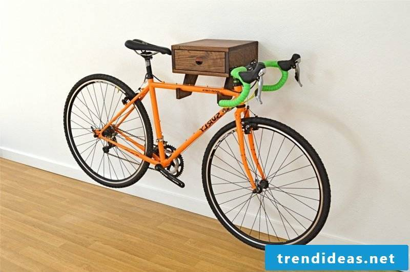 bicycle holder wall wood drawer