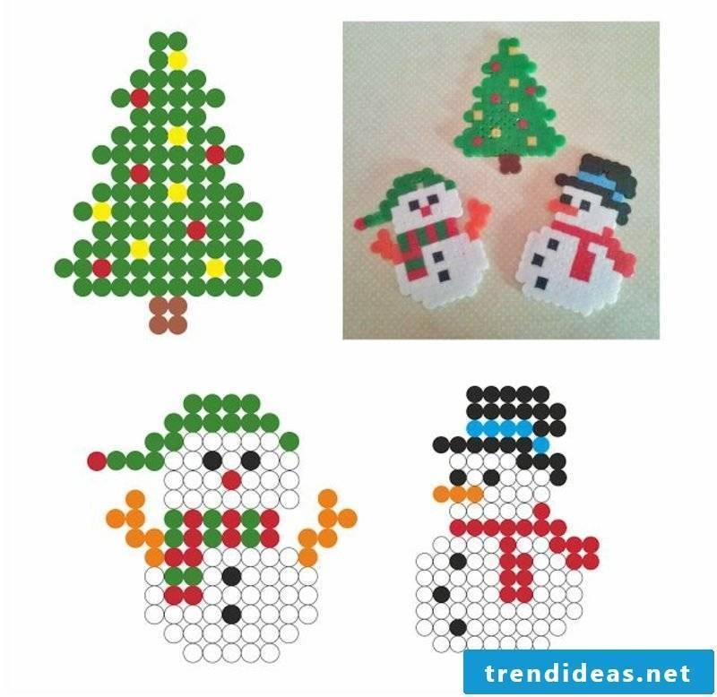 Beading template Christmas snowman Christmas tree