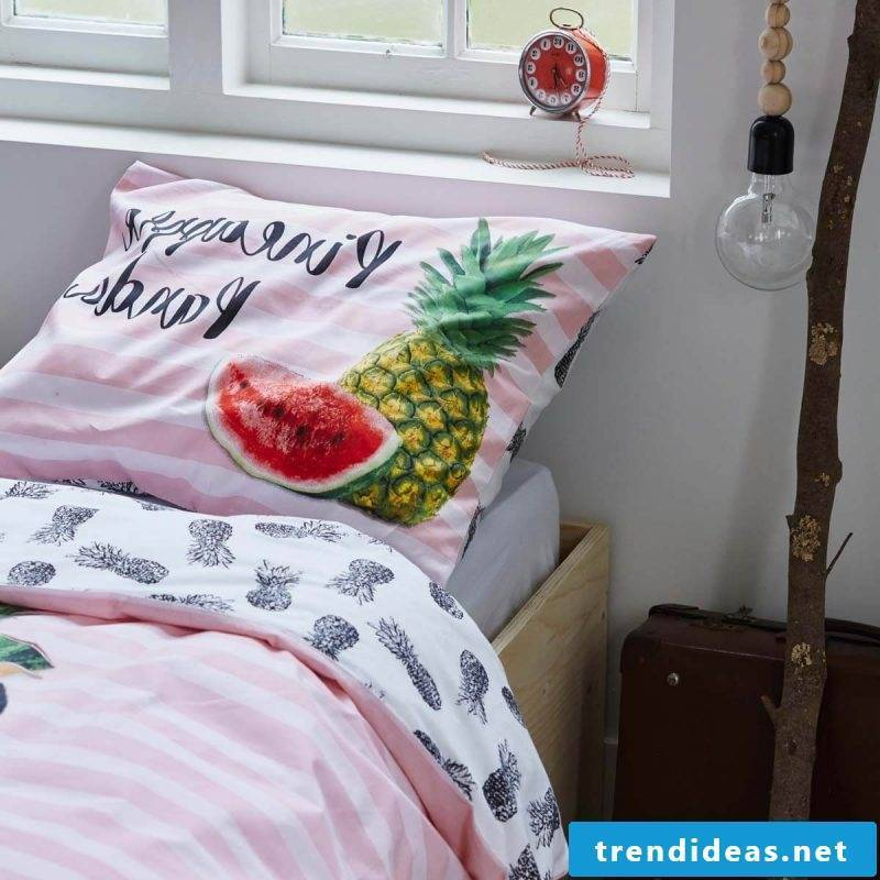 Cool bedding with fruits for sweet dreams